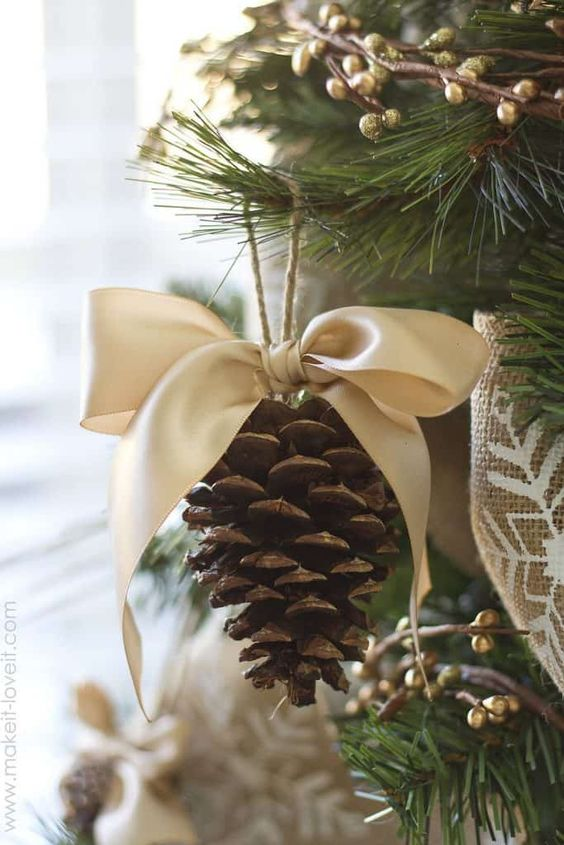 DIY pinecone Christmas ornament craft for adults