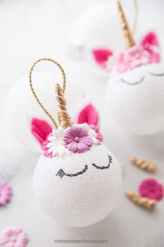 DIY Unicorn Ornamentswith white and pink colors