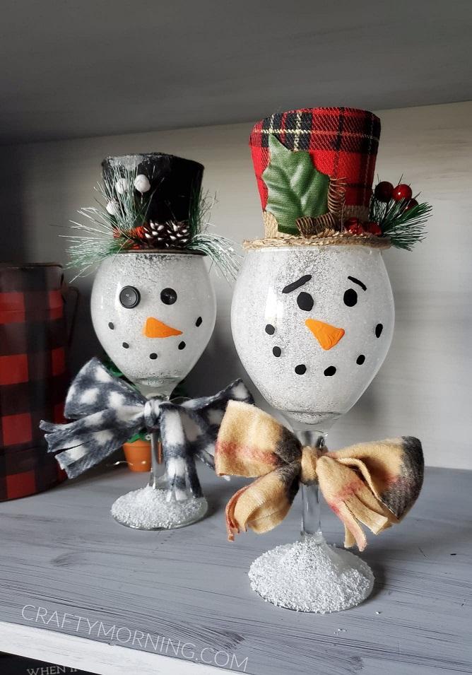 DIY wine glass snowmen craft