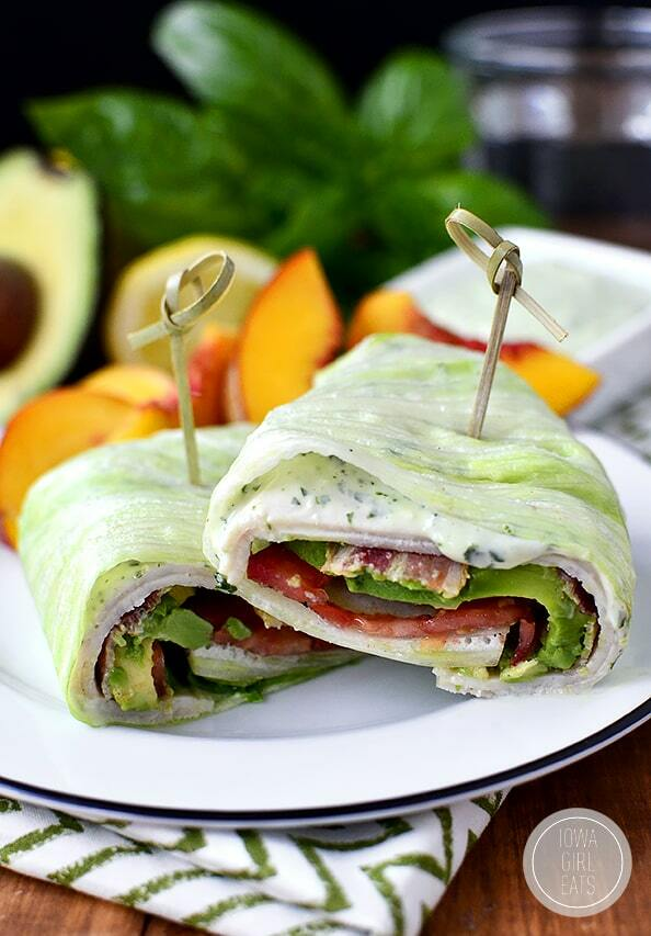 Easy keto lunch ideas for work: California Turkey and Bacon Lettuce Wraps with Basil-Mayo