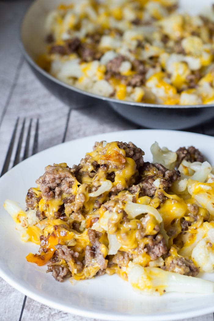 Easy keto lunch ideas for work: Cauliflower and Ground Beef Hash