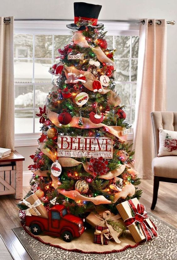 Red decorated Christmas tree ideas