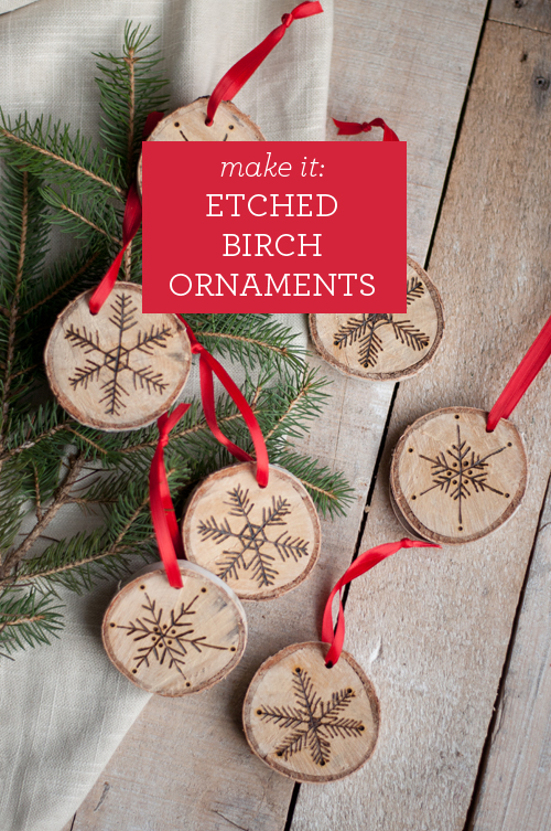 Etched birch Christmas ornaments