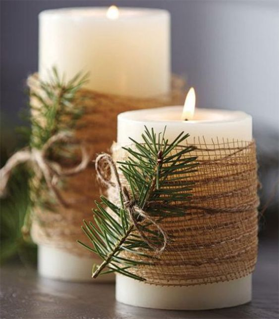 Rustic farmhouse candles with burlap and pine tree