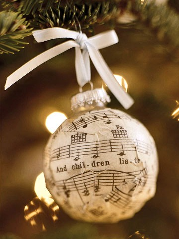 DIY rustic Christmas ornament with music sheet paper