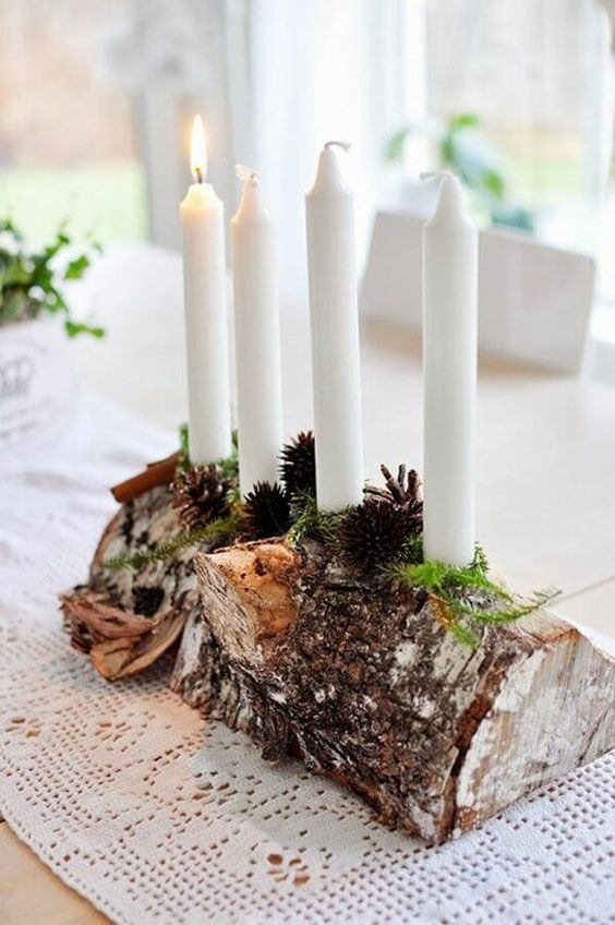 DIY rustic Christmas centerpiece idea with candles