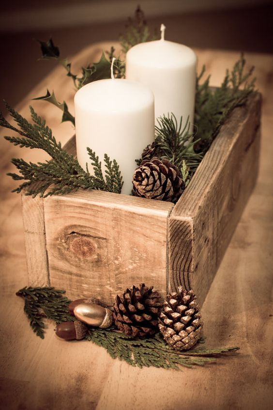 Rustic Christmas centerpiece with candles