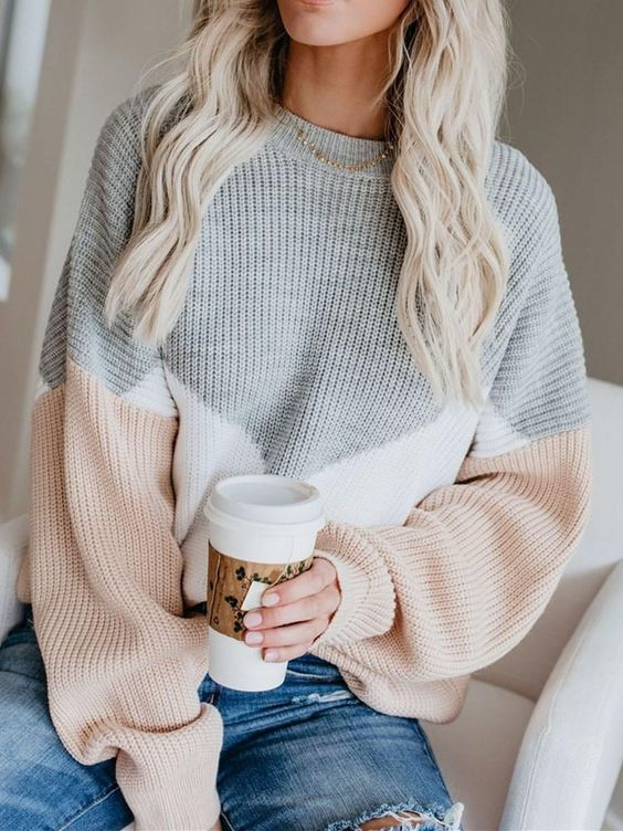 Cute sweater outfits with color blocking sweater