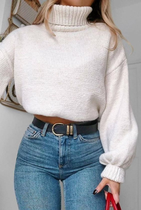 Cropped sweater outfits with jeans