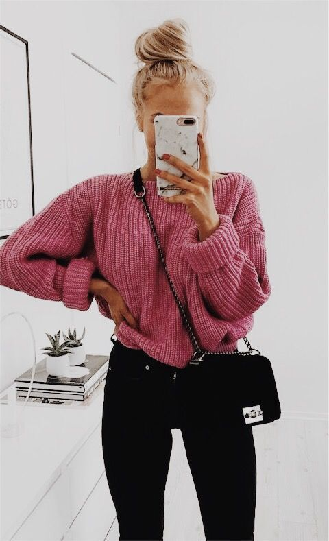 Pink sweater outfits for everyday wear - casual outfits