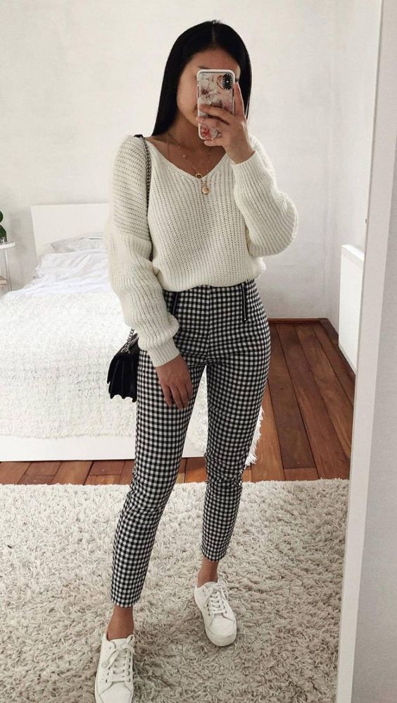 Gingham pants with white sweater - casual outfits for everyday