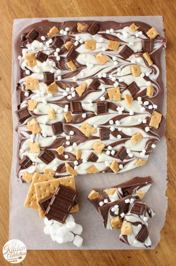 Easy homemade Christmas candy recipes: Triple Chocolate S'mores Bark