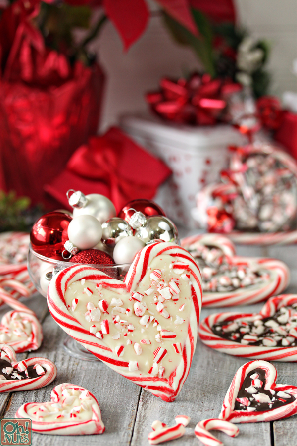 Easy homemade Christmas candy recipes: Peppermint Bark Candy Cane Hearts