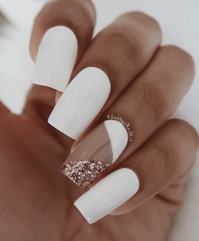 white spring nails acrylic coffin