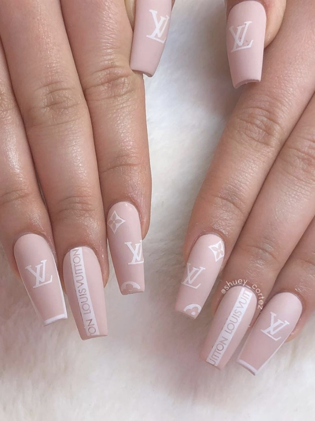 Neutral Louis Vuitton nails acrylic - designer nails acrylic