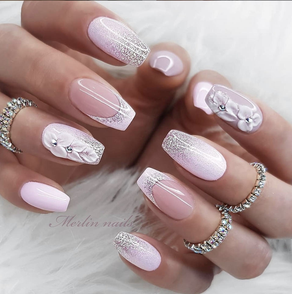 Pink spring nails by Merlin Nails