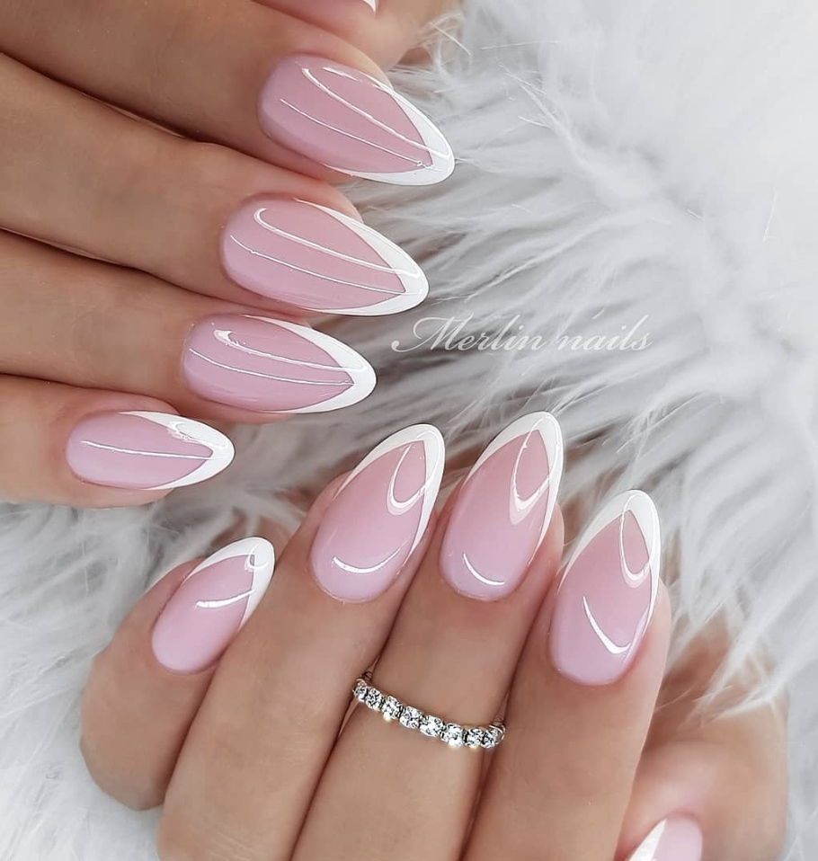 French manicure simple spring nails by Merlin Nails