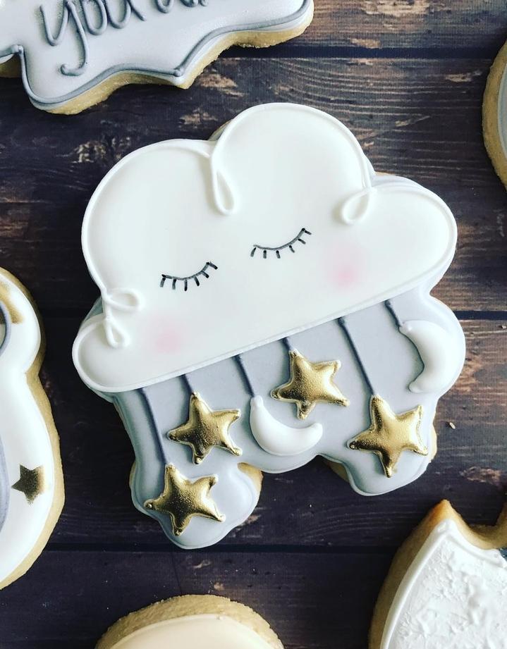 Twinkle twinkle little star baby shower cookies boy