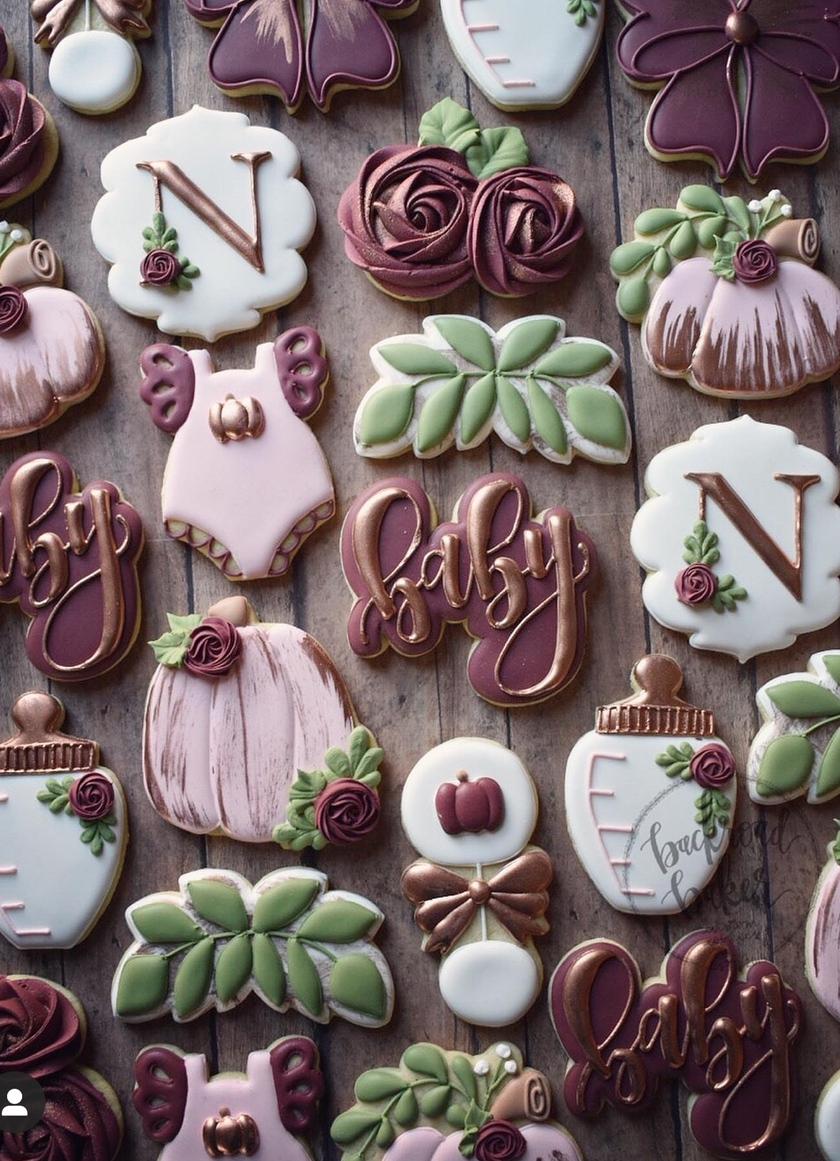 fall baby shower cookies, baby shower cookie ideas, baby shower cookies girl