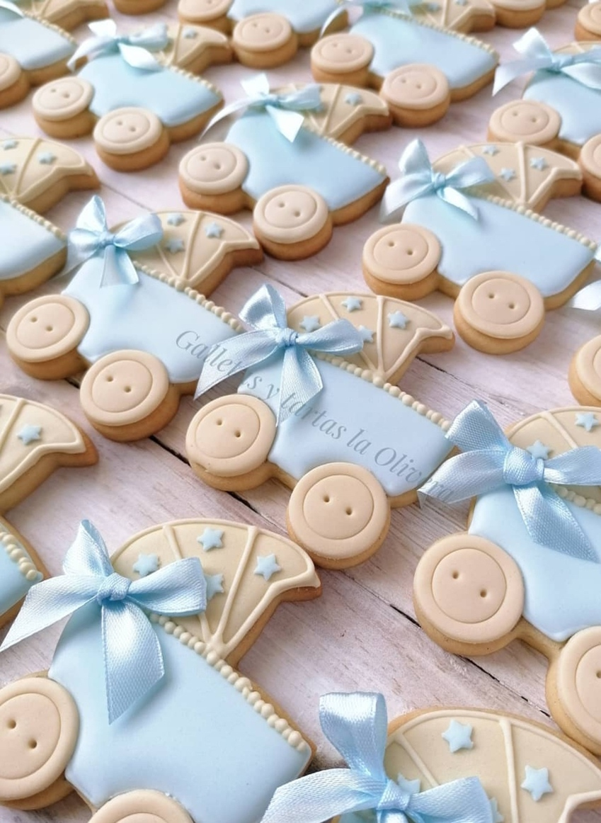 Blue baby shower cookies boy with stroller