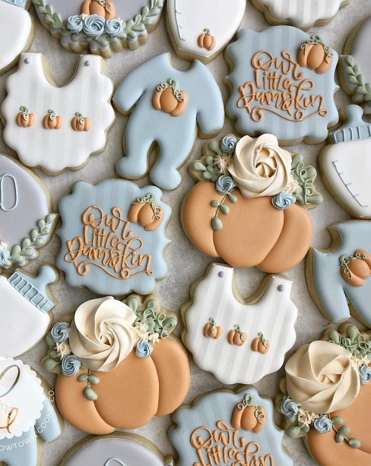 fall baby shower cookies, pumpkin baby shower cookies boy