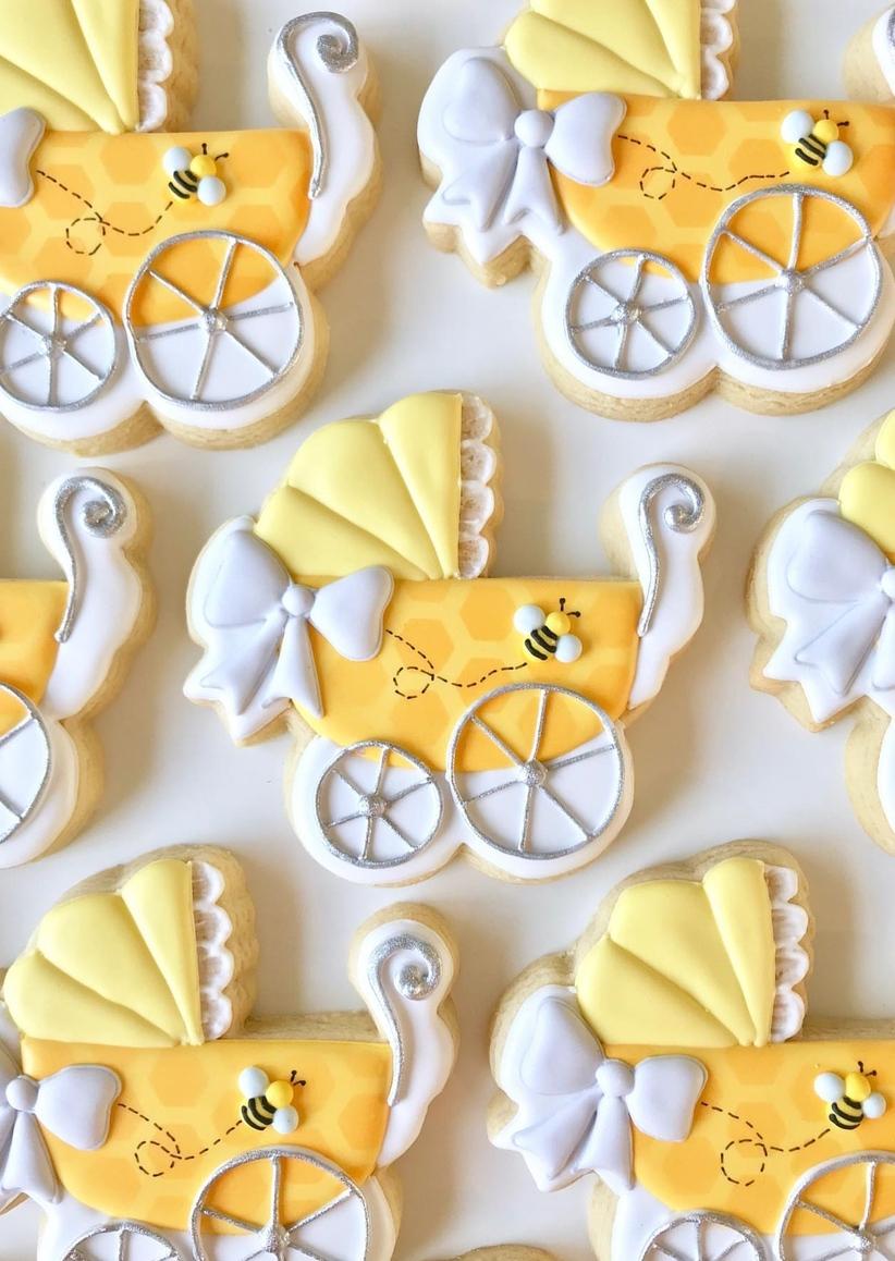 Yellow bee baby shower cookies