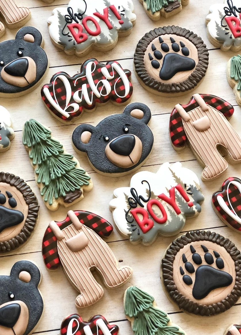 Fall baby shower cookies boy, baby shower cookie ideas