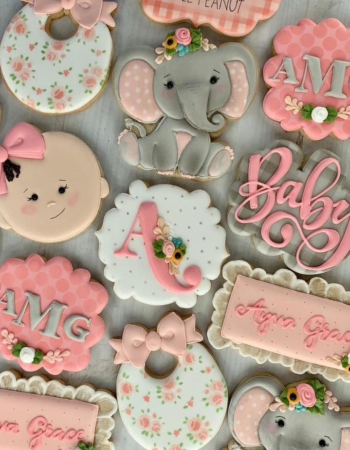Elephant baby shower cookies girl