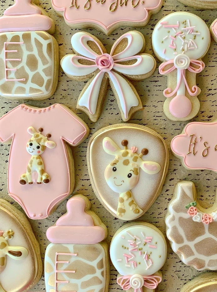 Giraffe baby shower cookies girl