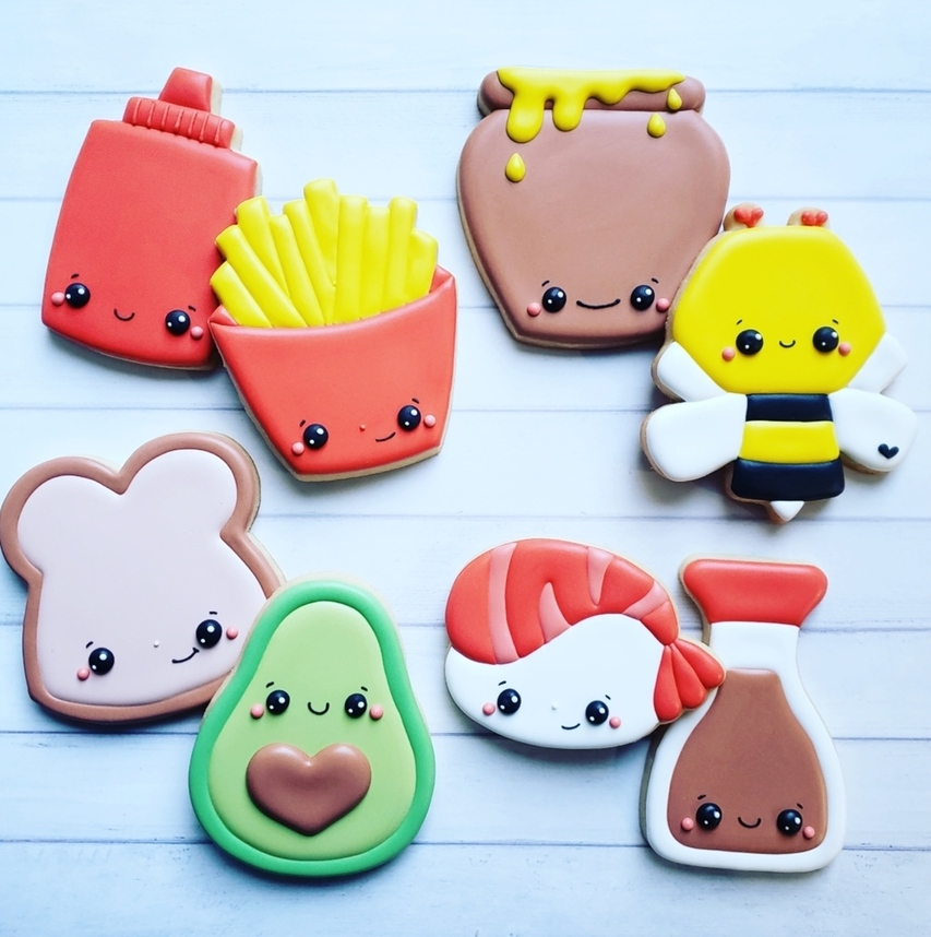 Cute sugar cookies with anime characters