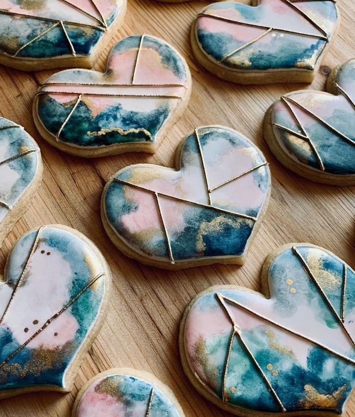 Blue heart shaped sugar cookies