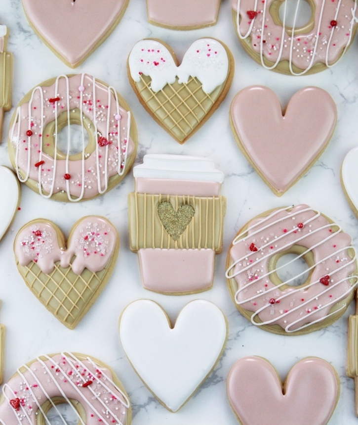 Cute pink valentine's day cookies and heart shaped cookies
