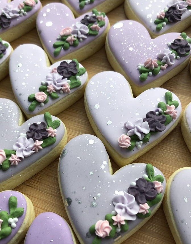 Purple heart shaped sugar cookies