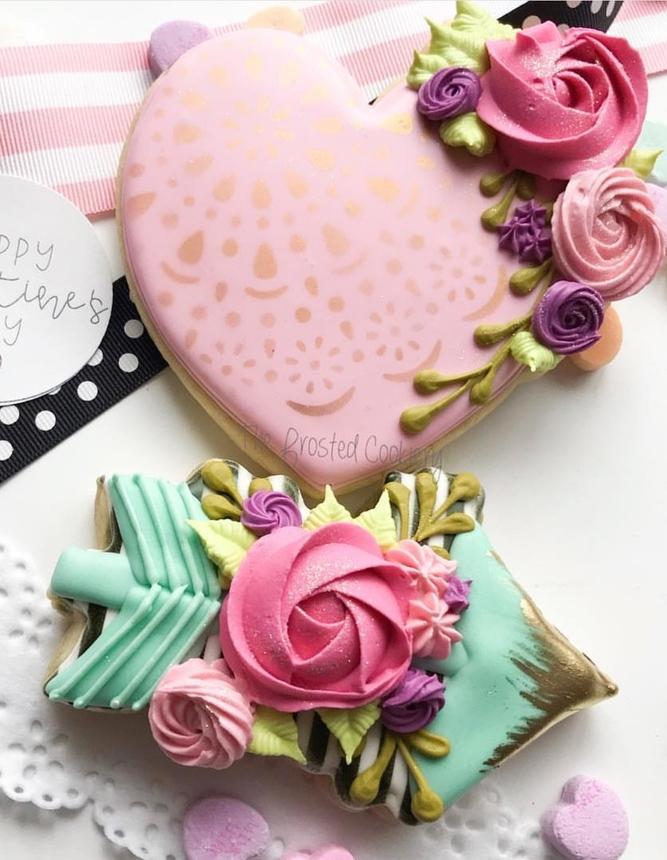 Cute pink heart shaped sugar cookies