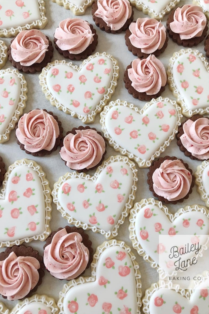 Pink and white heart shaped cookies - cute baby shower cookies
