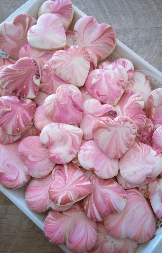 Cute pink valentine's day cookies and pink heart shaped cookies, pink marble cookies