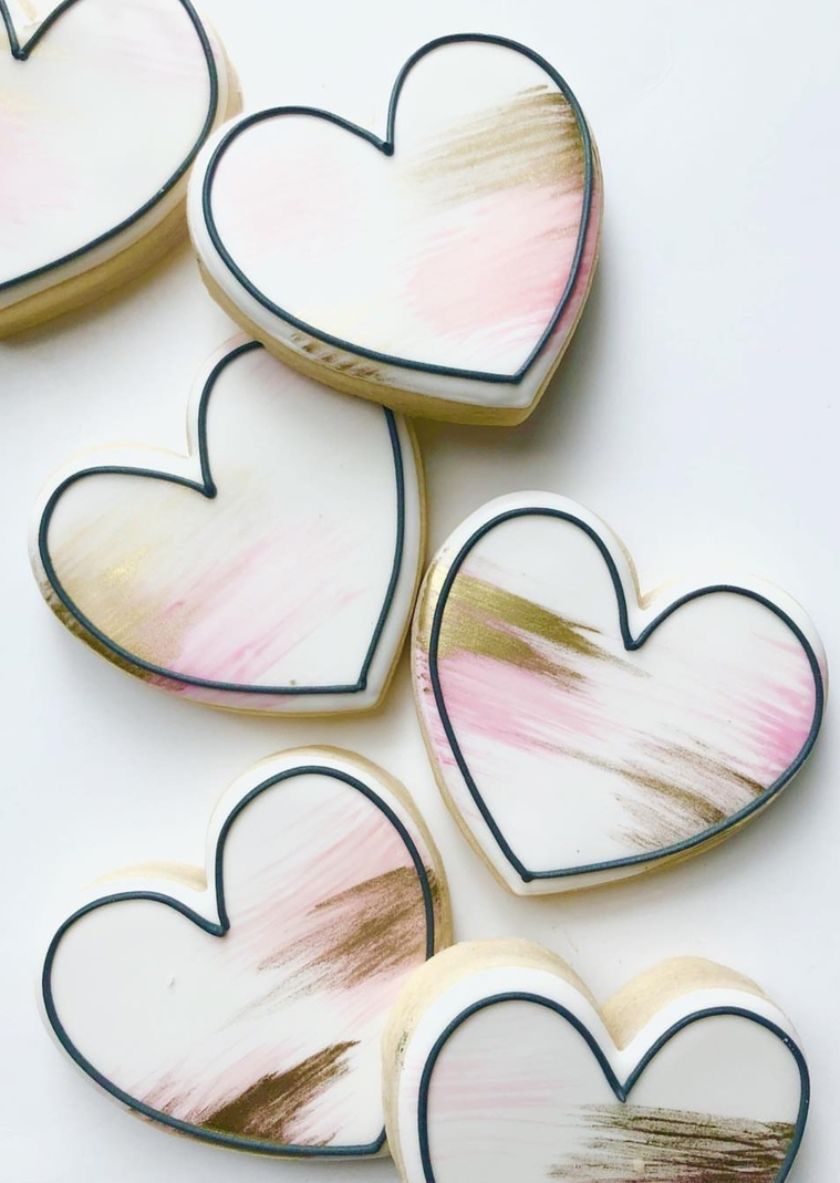 Cute valentine's day cookie ideas, white heart shaped sugar cookies
