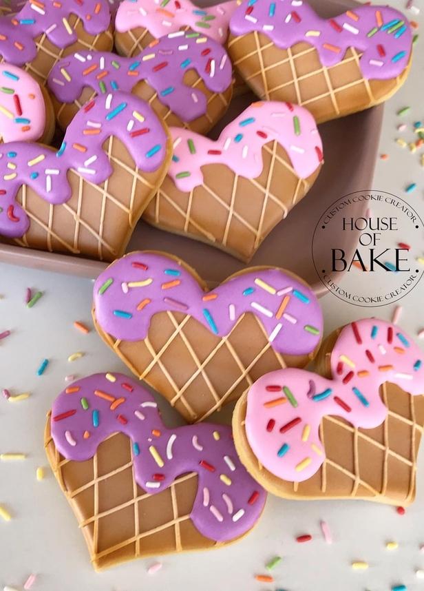 Cute ice cream heart shaped sugar cookies