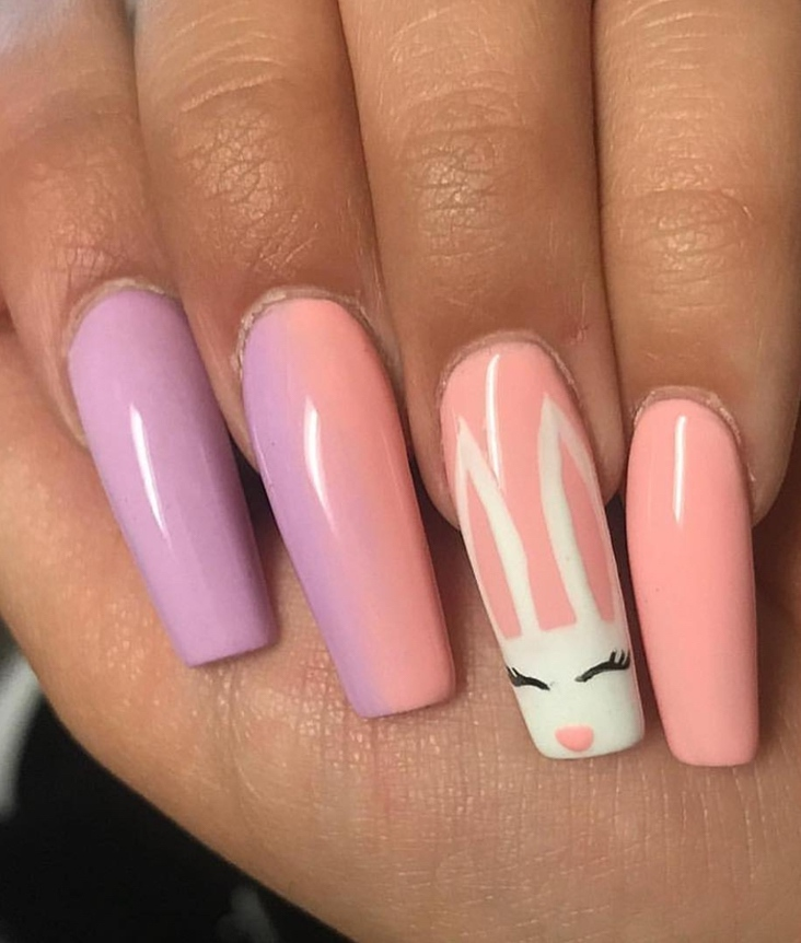 Ombre bunny nails acrylic coffin - ombre Easter nails with bunny