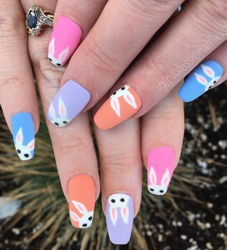 Pastel bunny nail art for Easter