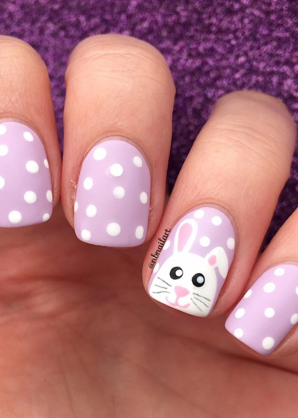 Pastel purple bunny nails with polka dots - cute Easter nails