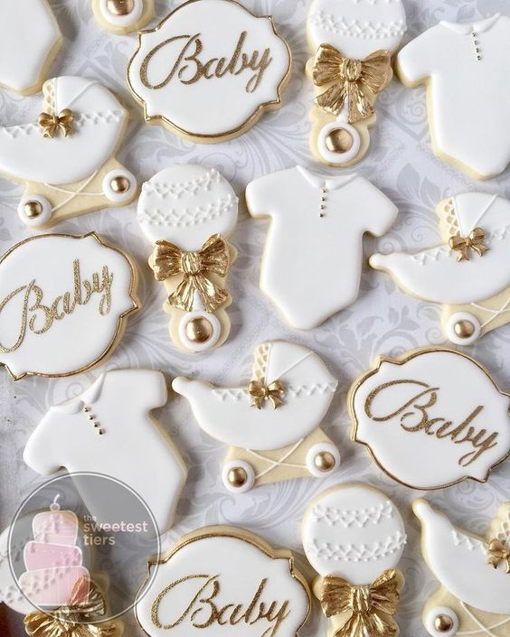 Gold and white elegant baby shower cookie ideas