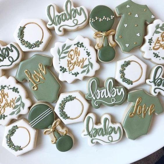 Green fall baby shower cookies