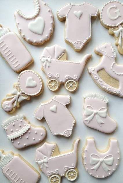 Pink baby shower cookies girl
