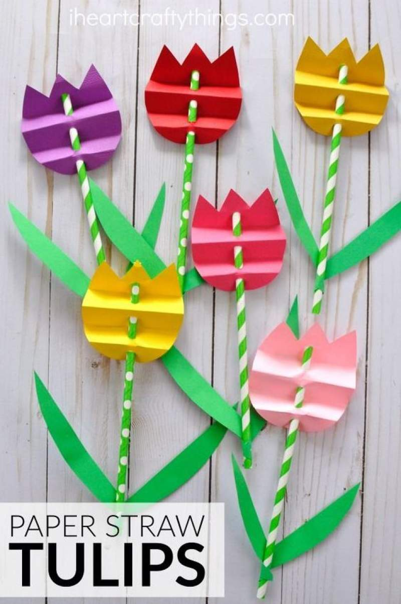 Paper Straw Tulips