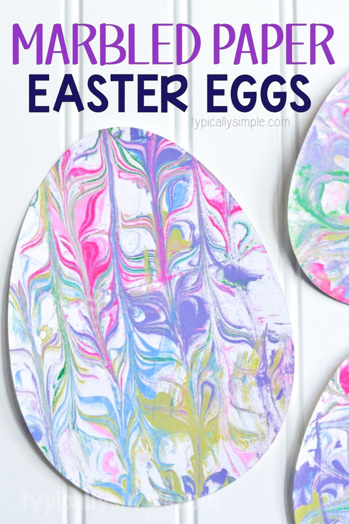 Easy spring crafts for kids: Shaving Cream Marbled Paper Easter Eggs
