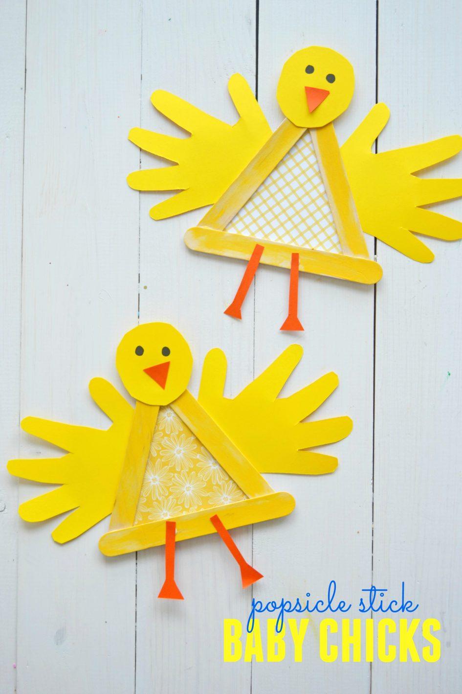 Easy spring crafts for kids: Popsicle Stick Chicks