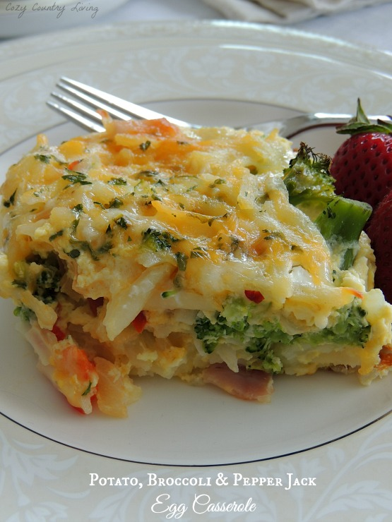 Potato, Broccoli & Pepper Jack Egg Breakfast Casserole