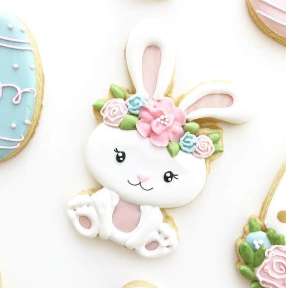 White Easter Bunny Sugar Cookies, cute decorated Easter cookies