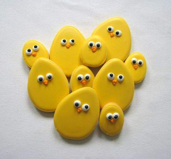 Cute chick cookies and yellow decorated Easter cookies